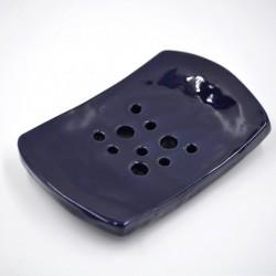 Savonieră ceramică cu găuri - Cobalt, 12 x 7,5 cm