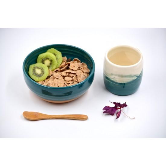 Bol ceramică pentru supă - Blue Lagoon, 15 cm