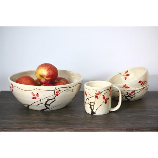 Bol ceramică pentru fructe - Măceșe, 24 cm