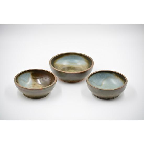 Boluri mici ceramică - Turquoise (set 3), 10 cm