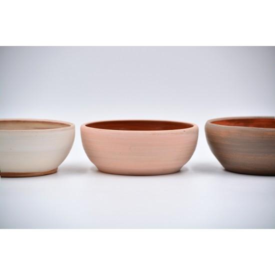 Boluri ceramică Roz - Alb - Teracota (set 3), 13 cm, 13 cm, 14 cm