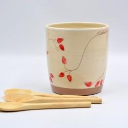 Suport ceramică ustensile bucătărie - Măceșe, 12 x 13 cm