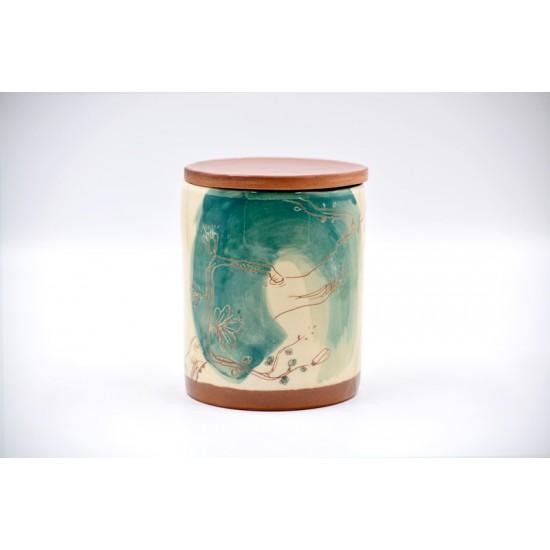 Borcan ceramică cu capac - Flori de piersic,  600 ml