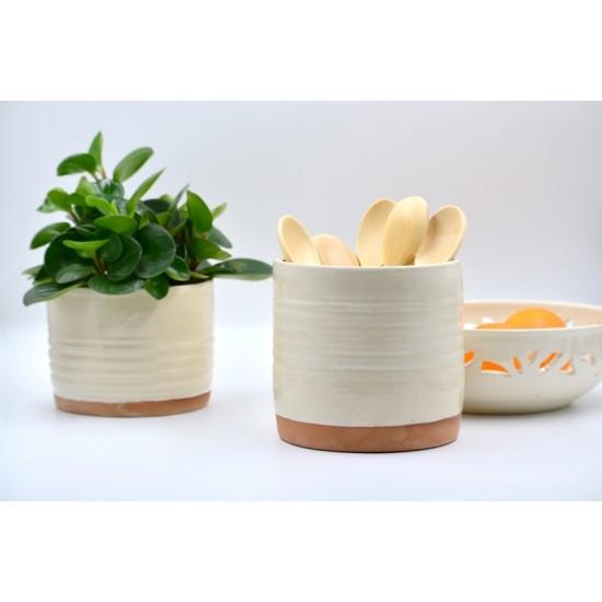 Suport ceramică ustensile bucătărie Alb, 13 x 14 cm