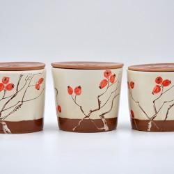 Borcan cu capac din ceramică - Măceșe , 600 ml