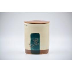 Borcan ceramică cu capac - Flori de piersic, 700 ml