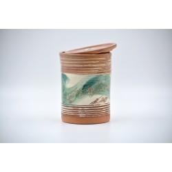 Borcan ceramică cu capac - Flori de piersic, 800 ml