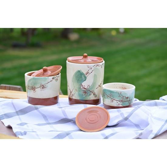 Borcane cu capac ceramică - Flori de piersic (set 3), 8 cm, 10 cm, 15 cm