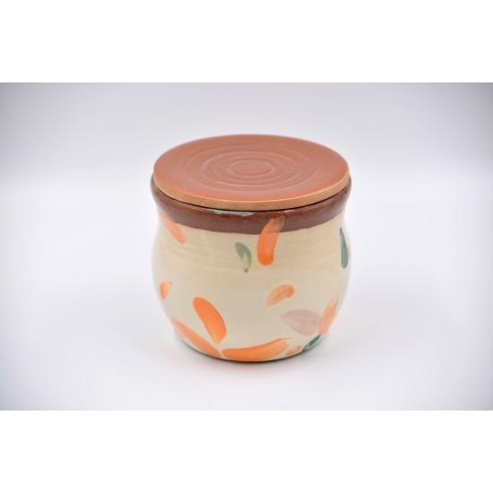Borcan ceramică cu capac - Petale, 600 ml