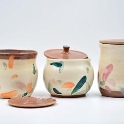 Borcane cu capac ceramică - Petale (set 3), 10 cm, 11 cm, 13 cm