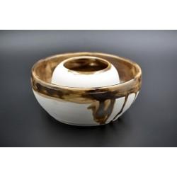 Boluri ceramică decorative Alb - Auriu (set 2), 16 cm, 7 cm