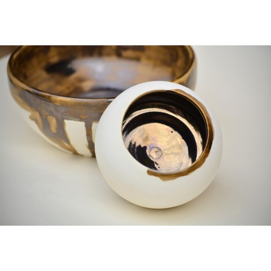 Deco boluri ceramică decorative Alb - Auriu (set 2), 16 cm, 7 cm