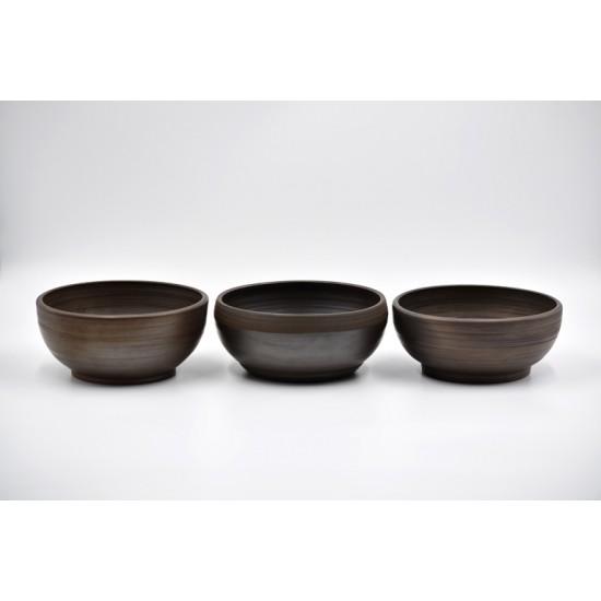 Boluri ceramică neagră (set 3), 15 cm