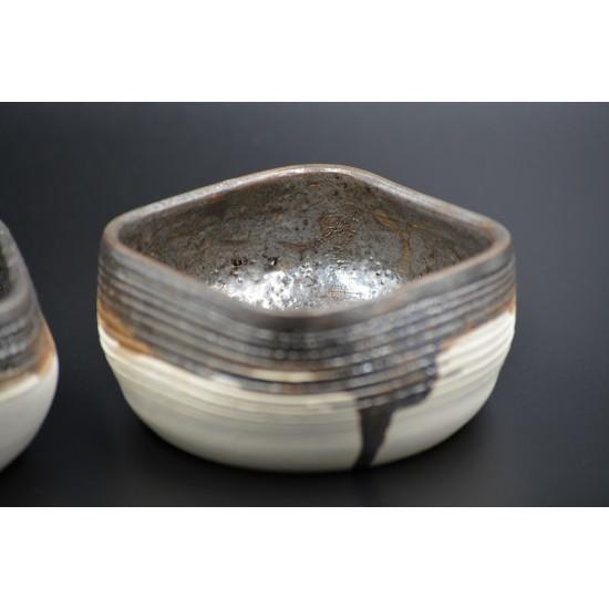 Deco boluri ceramică decorative Alb - Metalic (set 2), 8 x 5 cm