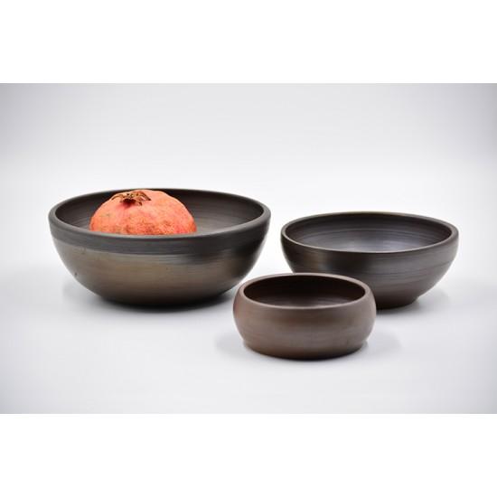 Boluri ceramică neagră (set 3), 17 cm, 14 cm, 10 cm