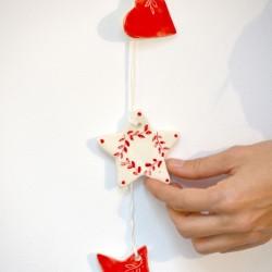 Decoraţiuni ceramică pictată pentru perete, Roşu (set 6) - 5 cm, 7 cm, 10 cm