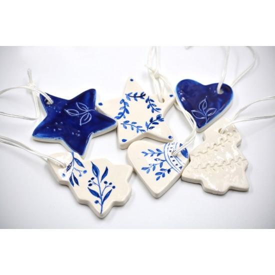Decoraţiuni ceramică pictată, Albastru (set 6) - 5 cm, 7 cm, 10 cm