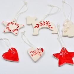 Decoraţiuni ceramică pictată, Roşu (set 6) - 5 cm, 7 cm
