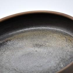 Farfurie ceramică neagră - metalică, 19 cm