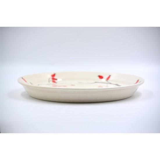 Platou servire din ceramică - Măceșe, 28 cm