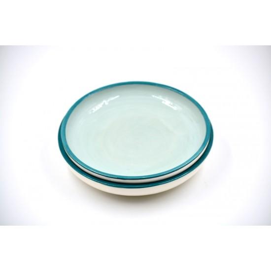 Farfurii ceramică Light Blue Lagoon (set 2), 20 cm