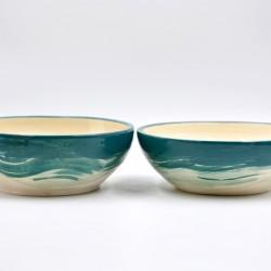 Farfurii ceramică adânci Blue Lagoon (set 2), 18 cm
