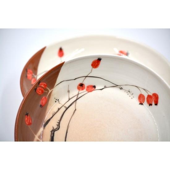 Farfurii ceramică Măceșe (set 2), 20 cm
