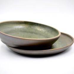 Farfurii ceramică neagră Verde (set 2), 20 cm, 21 cm