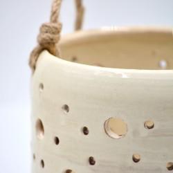 Felinar ceramică - Alb, 13 x 13 cm