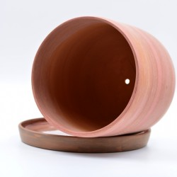 Ghiveci ceramică cu gaură și farfurie - Teracota, 16 X 14 cm