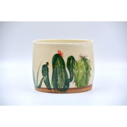 Ghiveci ceramică mască - Cactuși 16 x 12 cm