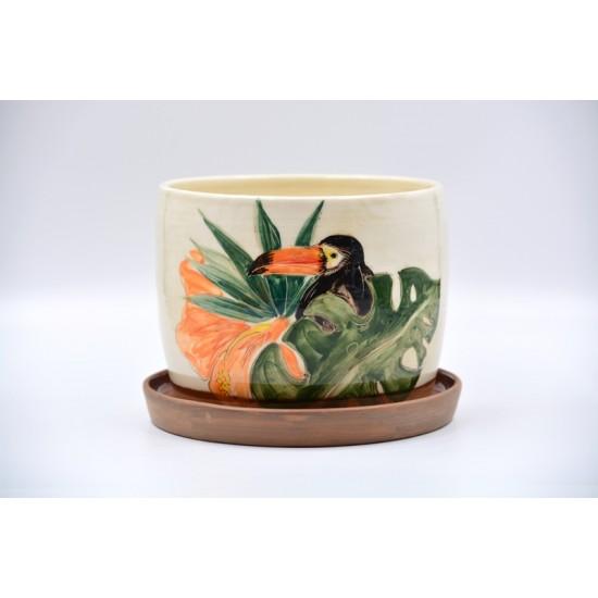 Ghiveci ceramică cu gaură și farfurie - Tucan 17 x 14 cm