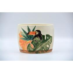 Ghiveci ceramică mască - Tucan 17 x 14 cm