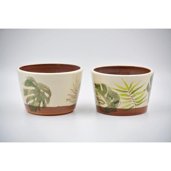 Ghiveci mască ceramică - Palmier, 12 x 8 Cm