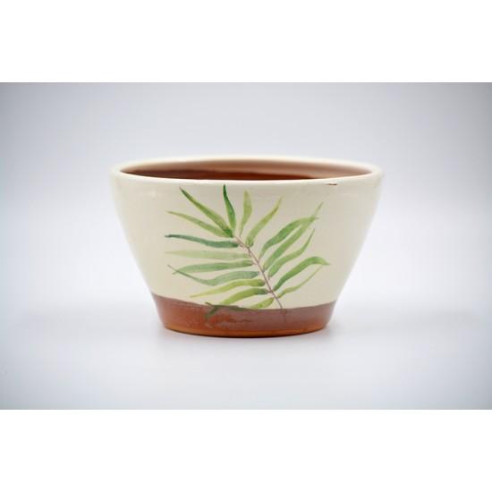Ghiveci mască ceramică - Palmier, 15 x 9 cm