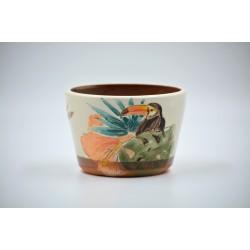 Ghiveci mască ceramică - Tucan, 12 x 8 cm