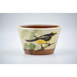 Ghiveci mască ceramică - Pasăre galbenă, 13 x 8 cm
