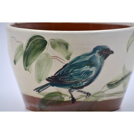 Ghiveci mască ceramică - Pasăre albastră, 14 X 8 cm