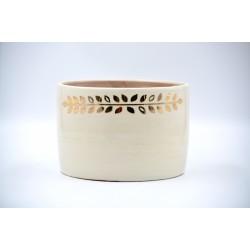 Ghiveci ceramică mască Alb - Aur - Frunze, 17 x 12 cm
