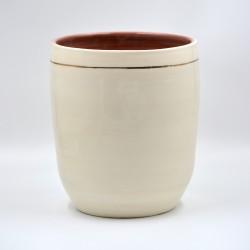 Ghiveci - Vază ceramică Alb - Linie Aur, 20x23 cm