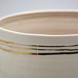 Ghiveci - Vază ceramică Alb - Linii Aur, 20x17 cm