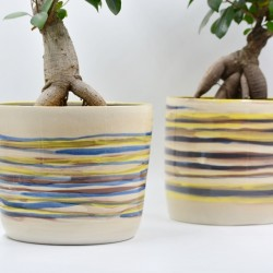 Ghiveci ceramică mască Albastru - Galben, 18 x 15 cm