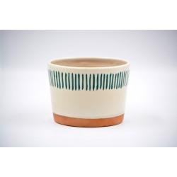 Ghiveci ceramică mască - Alb linii, 12 x 9 cm