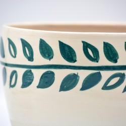 Ghiveci ceramică mască - Frunze, 19 x 13 cm