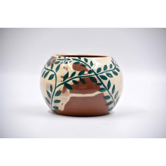 Ghiveci ceramică mască - Frunze 9 x 10 cm