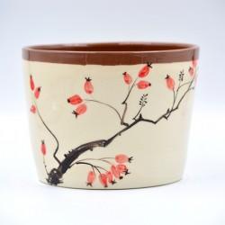 Ghiveci ceramică mască - Măceșe, 16 x 13 cm