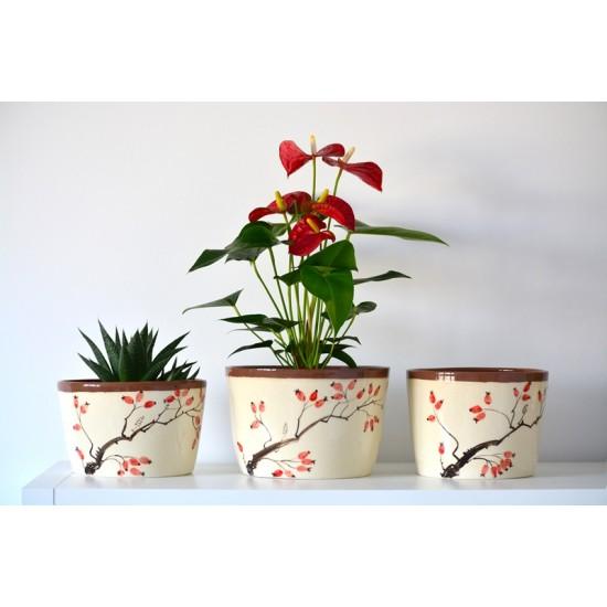 Ghiveci ceramică mască  - Măceșe, 20 x 13 cm