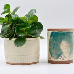 Ghiveci ceramică mască - Alb, 13 x 10 cm