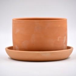Ghiveci ceramică cu gaură și farfurie - Teracota, 12 X 8 cm