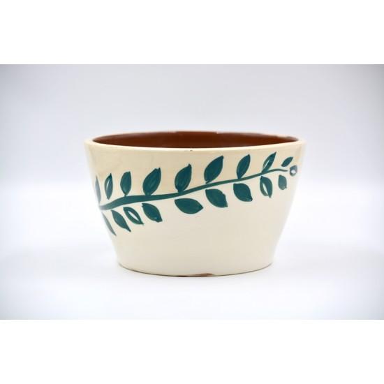 Ghiveci ceramică mască - Frunze, 18 x 11 cm